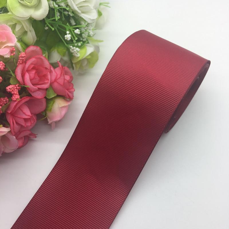 3 ярдов/партия 2 дюймов 50 мм Широкий темно красный Grosgrain ленты банты на голову Свадебные DIY ремесла