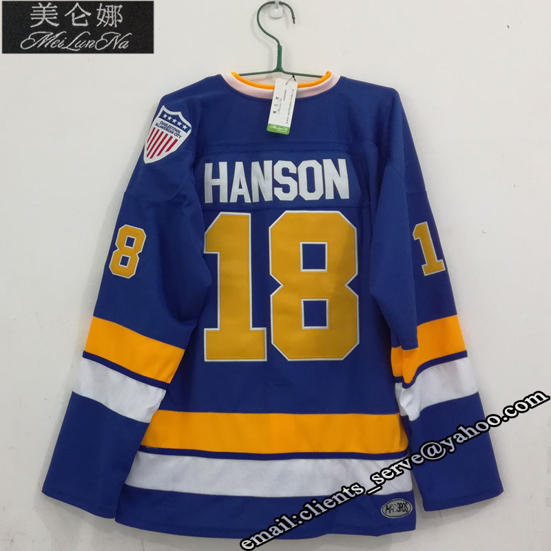 MEILUNNA Slap shot Charlestown #18 Jeff Hanson Brothers Jersey 1801 IF Need Custom any personality team Jersey Pls Contact us