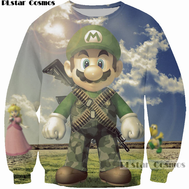 PLstar Cosmos Women Men Cartoon Sweatshirt 3D Print Game Super Mario Kart Wear Uniform Hoodies Cool Casual Loose Sweatshirts 5XL