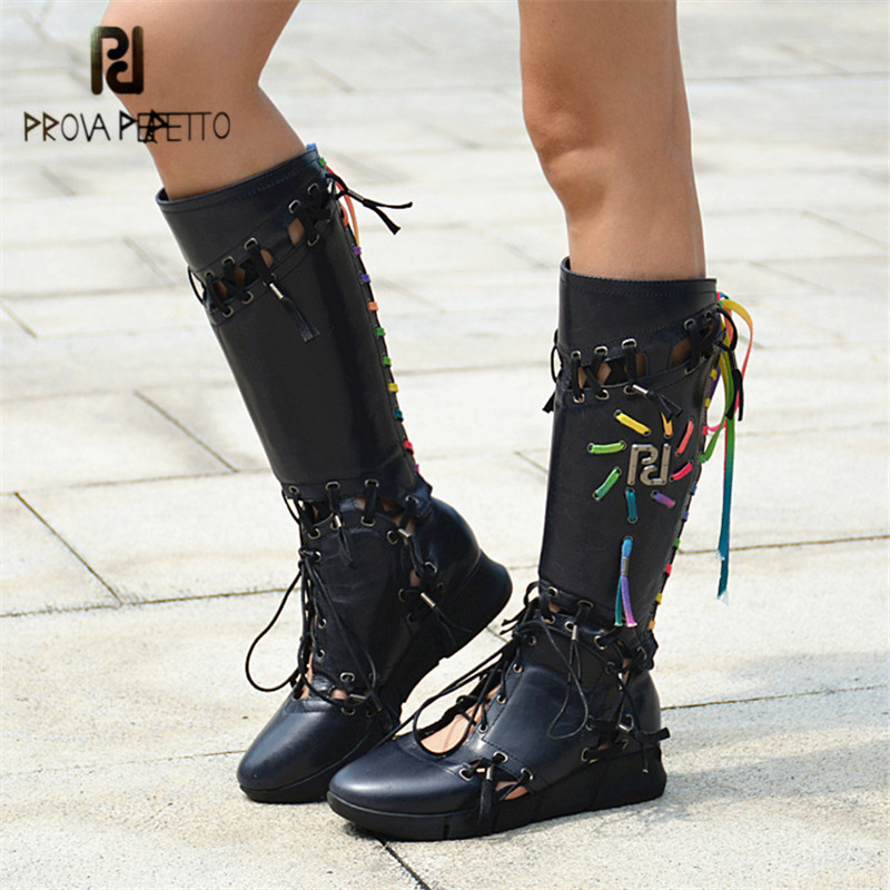 Prova Perfetto Designer Narrow Band Women Summer Boots Hollow Out Lace Up Sexy Knee High Boots Gladiator Sandals Platform Flats