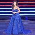 Высочайшее Качество 2017 Myriam Fares Знаменитости Платья Королевский Синий Шар платье Сексуальные Женщины Вечернее Платье Платья Vestidos Де Феста Плюс размер