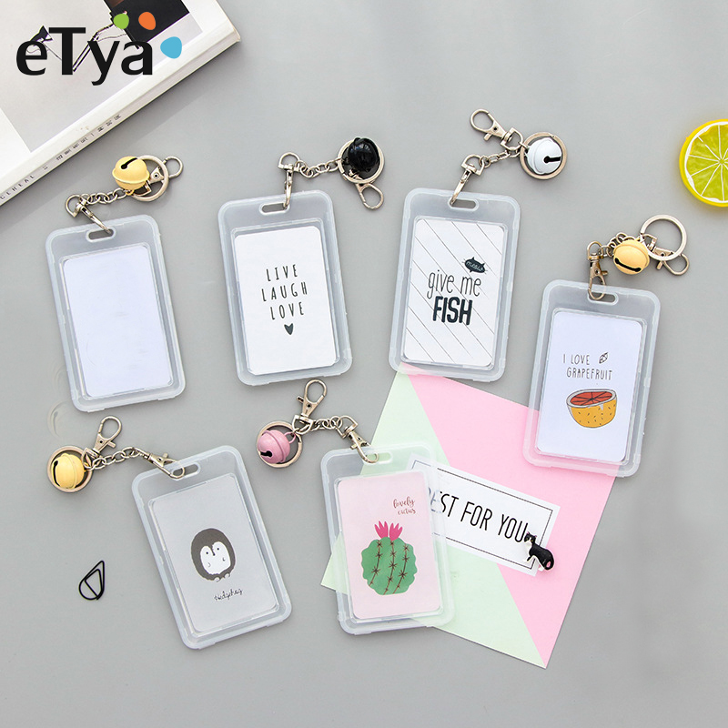 ETya Card Cover With Keyring Chain Fashion Card Bag Bank Credit Card Holder Plastic Cute Cartoon Student ID Bus Card Pass Holder