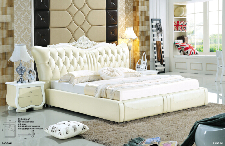 bedroom furniture french bed modern bedroom furniture with genuine leather bed included night stand