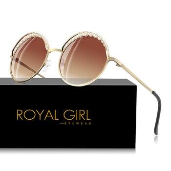 Królewski dziewczyna panie elegancka perła okrągłe okulary przeciwsłoneczne damskie 2019 nowy projektant metalowa rama różowy żółty niebieski Ocean okulary ss998