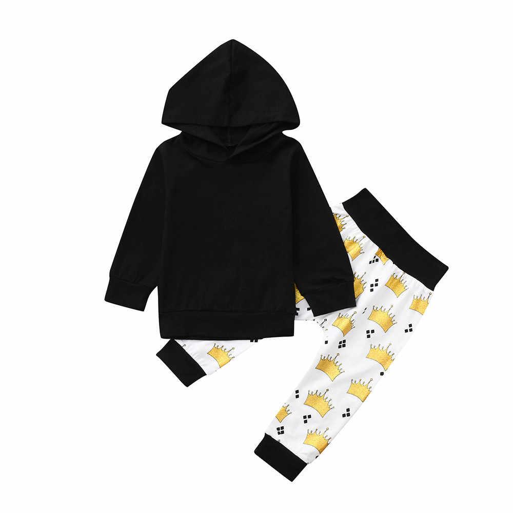 2PCS יילוד תינוקת ילד בגדי אופנה ארוך שרוול ברדס קריקטורה הדפסה למעלה + מכנסיים תינוקת סט מזדמן תינוקות תינוק בגדים