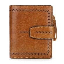 Женский мини-клатч из натуральной кожи с натуральным масляным воском, кошелек с двойным карманом для монет, женский кожаный держатель для карт, кошелек, сумка