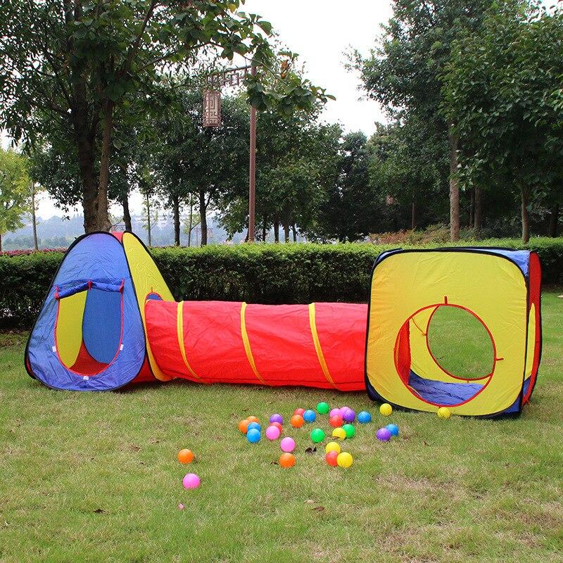 Livraison directe enfants jouer tente ramper Tunnel océan piscine fosse pliable enfants tente jouer maison jouets Portable jeu jouet 3 pièces/ensemble