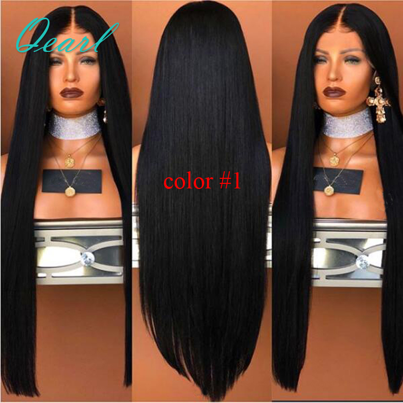 150 180 Silky Straight Lace Front Human Hair Wigs Brazilian Virgin Hair Pre Plucked Middle Part