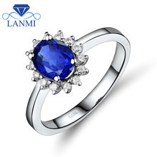 Lovelry Genuine Tanzanite Wedding Ring in 18Kt White Gold Diamond Good Quality Gem Jewelry for Women Anniversary Loving Gift
