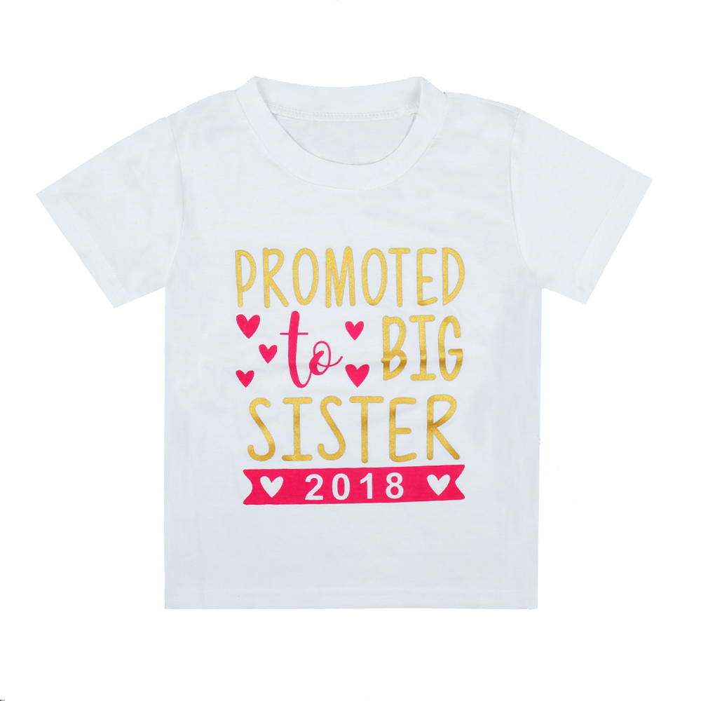 2017 New Arrivals Children Tshirt Promoted To Big Sisiter 2018 Print Short Sleeve White Kid Shirts Long Sleeve Shirt Hot Sale