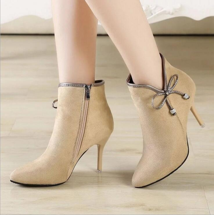 86ccefc9b9 EFFGT 2019 NEW fashion Ankle Boots Butterfly knot pointed toe Heels Boots  Women Winter Autumn Sexy Martin Boots-in Ankle Boots from Shoes on  Aliexpress.com ...