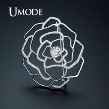 UMODE White Gold Flower Brooches Vintage Suit Pins Crystal Cubic Zirconia Women Luxury Jewelry Accessories UX0017B