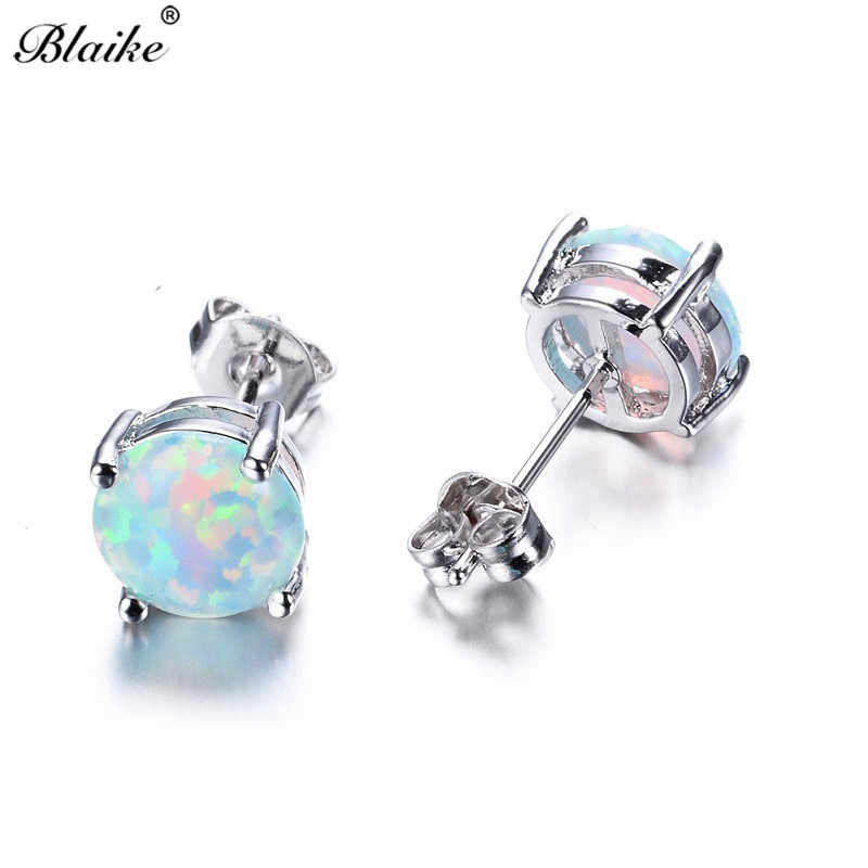 Blaike Fashion 8MM White/Blue/Green Round Fire Opal Stud Earrings For Women Bridal 925 Sterling Silver Filled Birthstone Jewelry