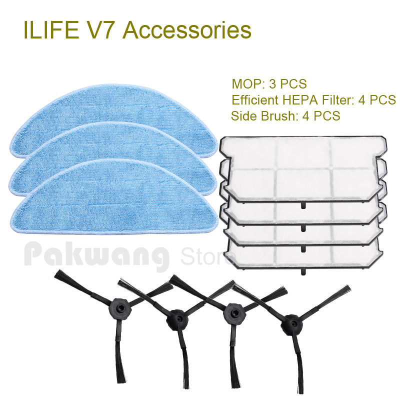 Original ILIFE V7 Robot Vacuum Cleaner Accessories from the factory, Mop 3pcs, Efficient HEPA Filter 4 pcs and Side Brush 4 pcs original ilife v7 primary filter 1 pc and efficient hepa filter 1 pc of robot vacuum cleaner parts from factory