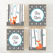 Woodland Nursery Animal Stay Clever Little Fox Quote Wall Art Canvas Painting Nordic Posters and Print Cartoon Picture Kids Room