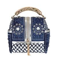 Hot 2018 Women Denim Tassel Bag Purses And Handbags High Quality Rhinestone Tote Shoulder bags Dollar Price Luxury Bags bolsas