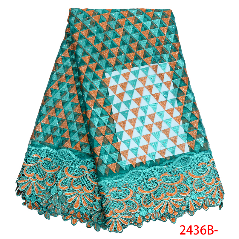 High Quality Embroidered African Tulle Lace Fabric Different Design Fabric Nigerian Cheap Beads With Stones Material