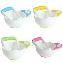 Baby Kids Two-piece Grinding Bowls Learn Dishes Handmade Grinding Tool Food Fruit Supplement Children Infant Food Mills 4 Colors