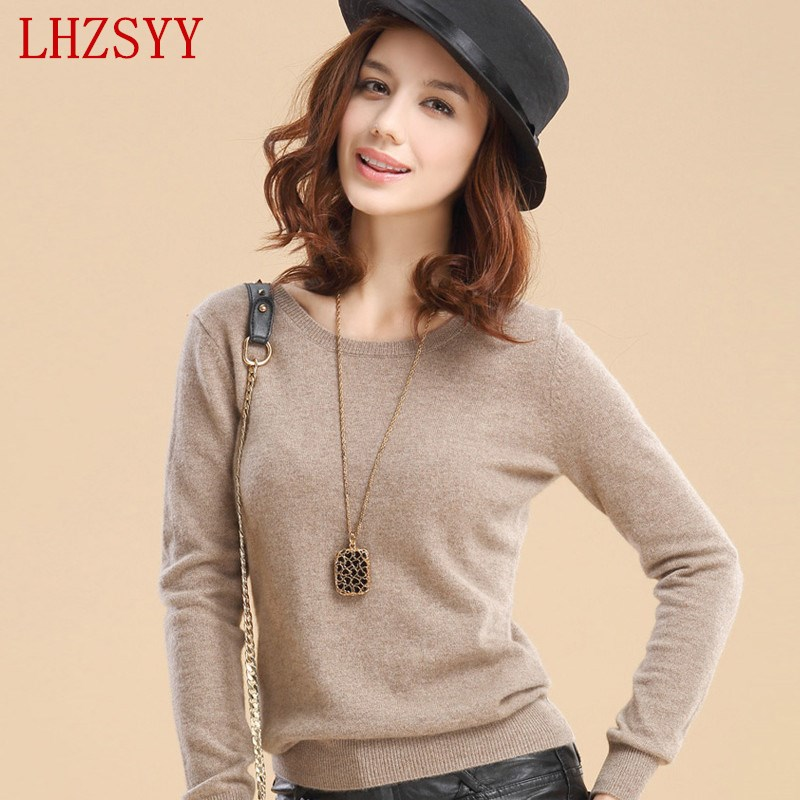 Hot Selling New Arrival Women S Cashmere Wool Sweater Female Basic Shirt Color Block Slit Neckline