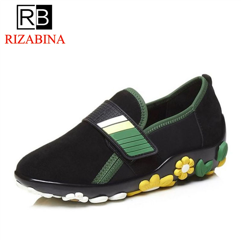 RIZABINA High Quality Women Flats Shoes Genuine Leather Soft Bottom Flower Leisure Shoes Daily Outdoor Shoes