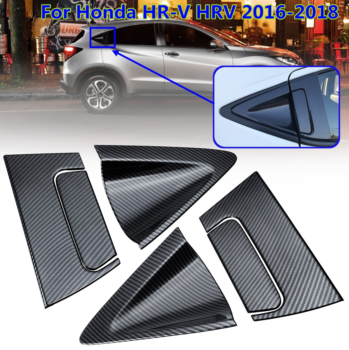 For <font><b>Honda</b></font> Vezel HR-V <font><b>HRV</b></font> 2016 2017 2018 Car <font><b>Accessories</b></font> 6 x ABS Chrome/Carbon fiber Side Rear Door Handle Bowl Cover Insert Trim image