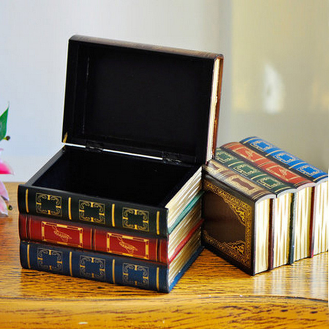 Set Of 2 Antique Wood Decorative Book Storage Boxes Mini Cases