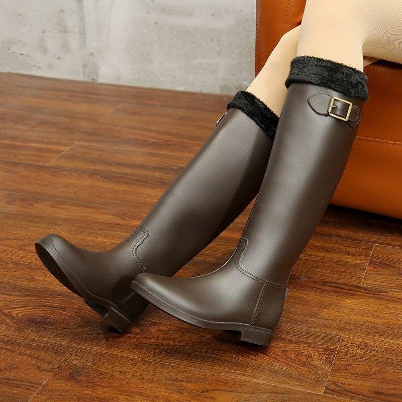 Демисезонный Новинки для женщин модные непромокаемые высокое по колено черные резиновые сапоги обувь Водонепроницаемый резиновые сапоги ...