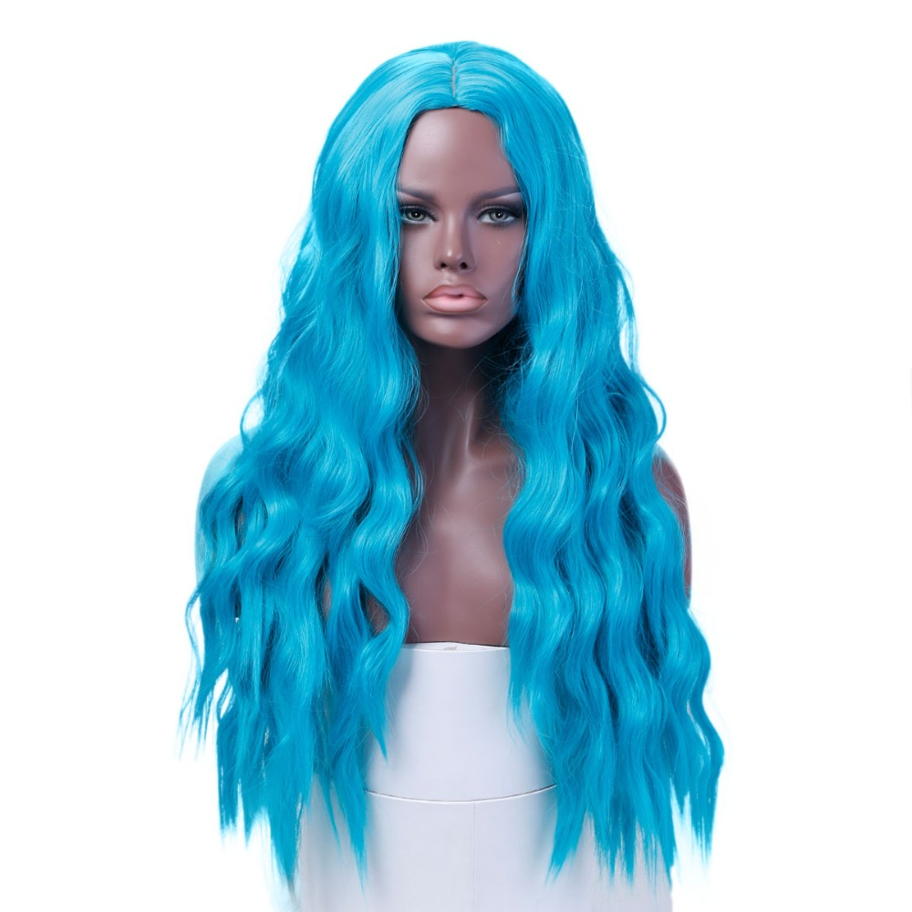 26Long Curly Wig Synthetic Heat Resistant Middle Part Line Carnival Hair Costume Cos-play Halloween Party DIFEI