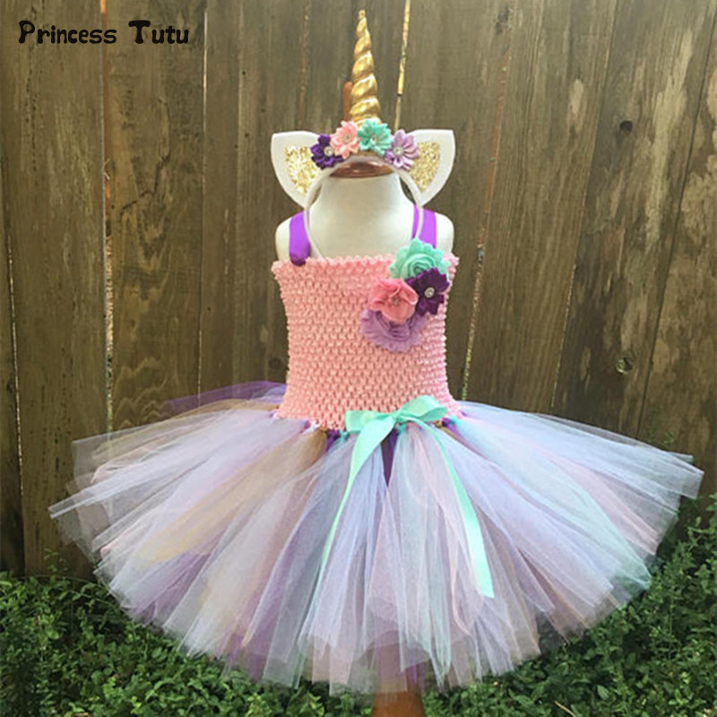 Girls Tutu Dress Fancy Rainbow Princess Pony Unicorn Dress With Headband Christmas Halloween Costume Kids Girl