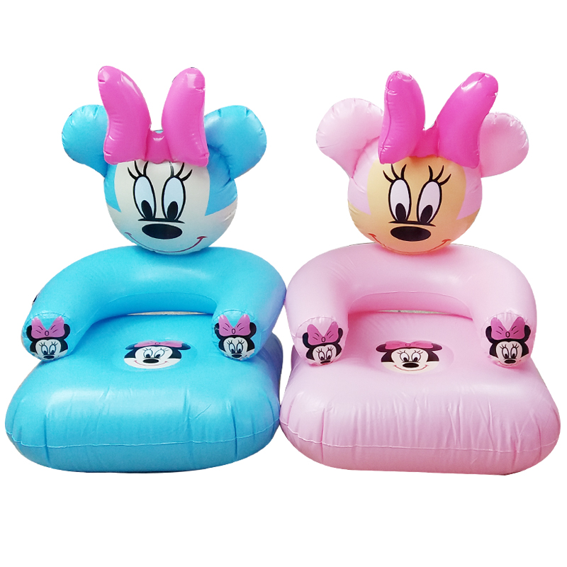 2 To 6 Years Old Lovely Portable Cartoon Blue And Pink PVC Inflatable Sofa Seat Children Toys For Children43*43*65