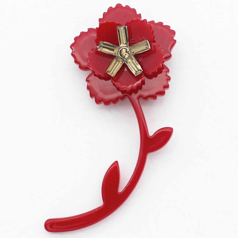 Bunga Bros Kerah Pin Merah Pin Akrilik Bros Vintage Broche Fashion Perhiasan Bros untuk Wanita Gaun 2017 Pernikahan Karangan Bunga