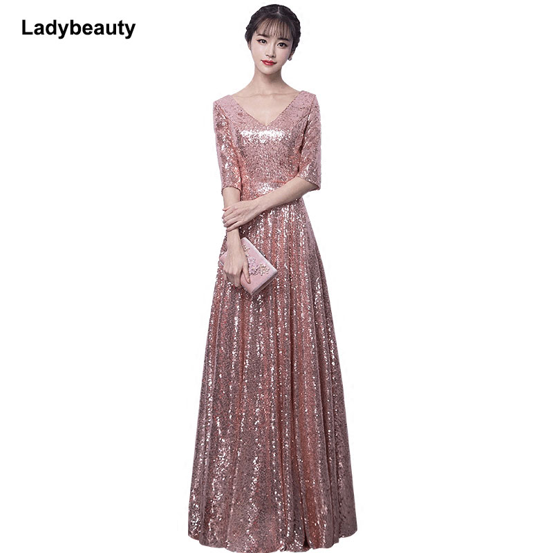 Ladybeauty 2018 New arrival Sequined   Evening     Dress   V-Neck Half sleeves Simple   Evening   Gowns Long Party Formal   Dresses