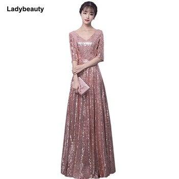 1a768d2b52c8 Bling plata lentejuelas vestido de novia 2019 brillante cuello en V  profundo sin espalda capilla ...