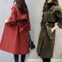 Temperament 2018 New Winter Fashion Double breasted Slim Woolen Coat Women Pure color Medium long Woolen Jacket Women