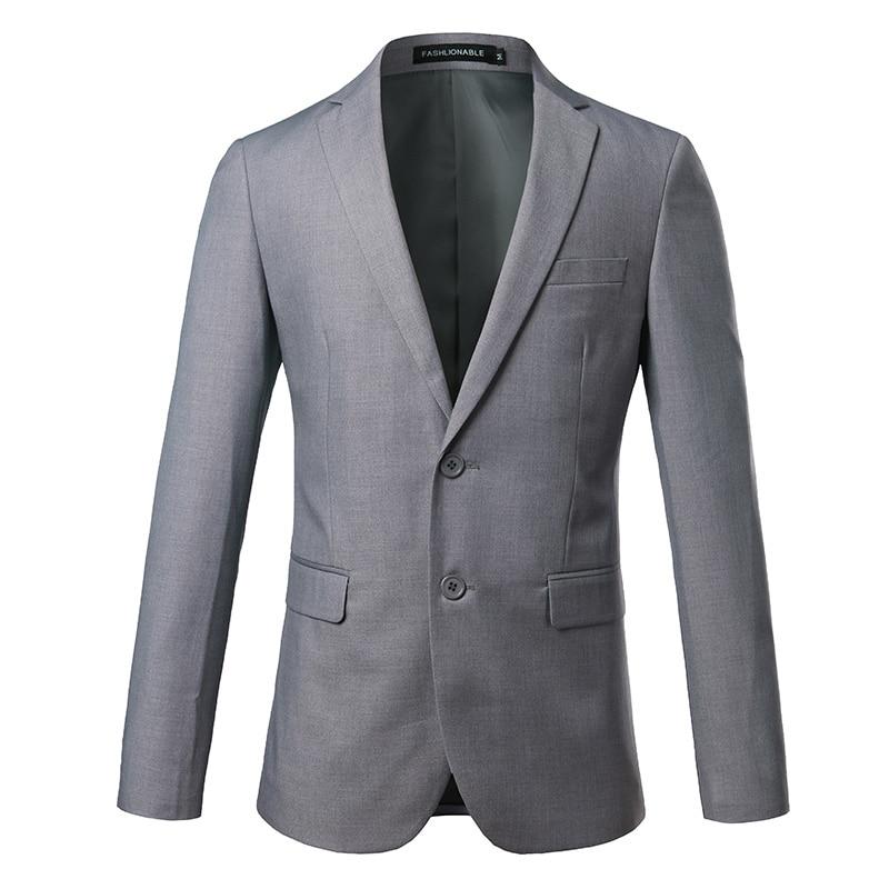 Couleur Pure hommes costume formel veste asie taille S-4XL affaires de mariage hommes Blazer manteaux Slim Design gris costume hommes