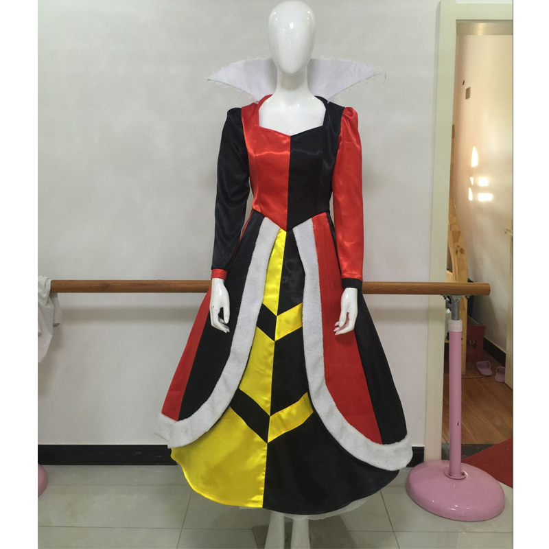 Alice In Wonderland Queen of Hearts Dress Cosplay Costume Halloween Carnival Party Costume Full Set Custom
