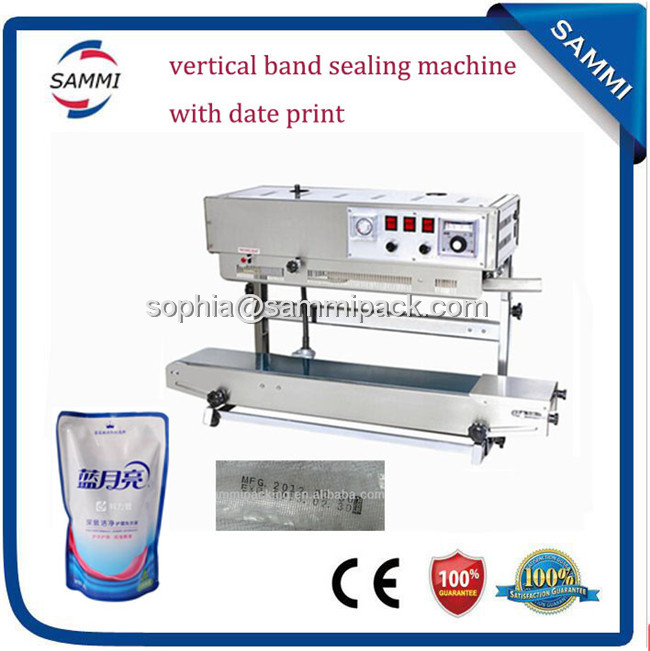 New design plastic film continuous heat band sealer with date coding pp bag sealing machine