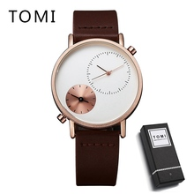 лучшая цена Men Luxury TOMI Leather Strap Watches Carnival Luxury Brand Watch New Men Business Quartz Watch Casual Leather Wristwatches