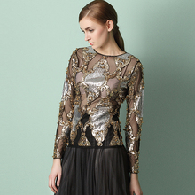 Runway Sequined Blouse Women Mesh Fabric See-through Embroidery Long Sleeves O Neck 2 Colors Sexy Design New Fashion Style 2017