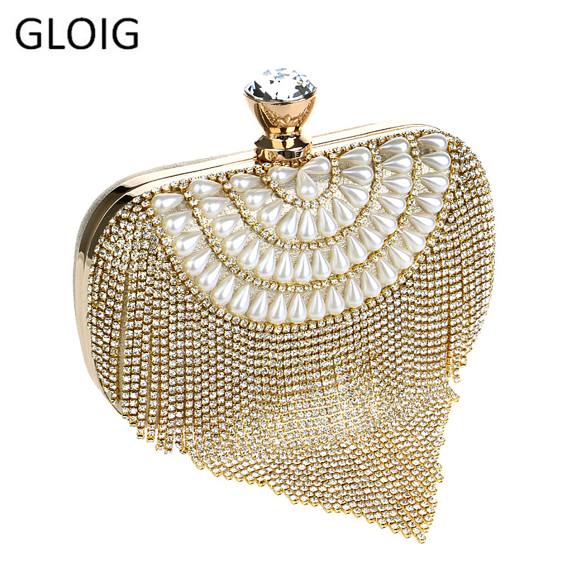 GLOIG Tassel Rhinestones Clutch Beading Lady Evening Bags Diamonds Small Purse Chain Shoulder Handbags Wedding Party Evening Bag