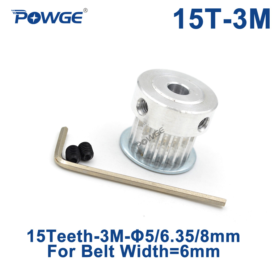 POWGE Arc tooth 15 Teeth HTD 3M Timing Pulley Bore 5mm 6.35mm 8mm for Width 6mm 3M synchronous belt HTD3M pulley 15Teeth 15TPOWGE Arc tooth 15 Teeth HTD 3M Timing Pulley Bore 5mm 6.35mm 8mm for Width 6mm 3M synchronous belt HTD3M pulley 15Teeth 15T
