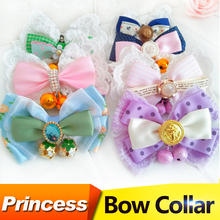 Cute Princess Small Dog Necklace Bow Tie Collar For Pet Puppy Cat Flower Jewelry Bell Collar Chihuahua Yorkshire Accessories
