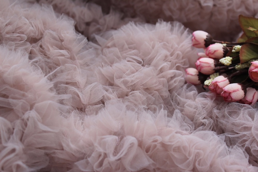 Wedding Decors wedding prop 3D nude pink ruffle Fabric haute couture dress fabric Photography Prop Backdrop