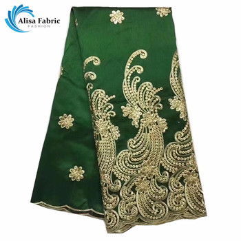 2018 Hot Fashion African George Lace Fabric,High Quality Green Color George Silks Lace Embroidered And Sequins For Wedding Cloth