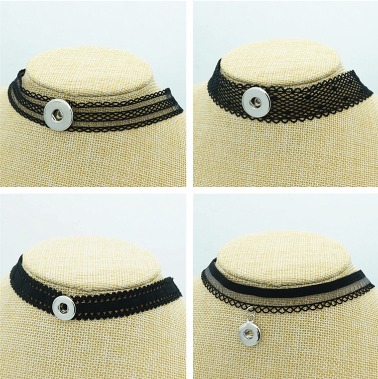 NEW Fashion DJ0117 Black Lace Sexy Collar Choker Funky trendy snap Necklace fit 12MM&18MM charm snap buttons snap jewlery image