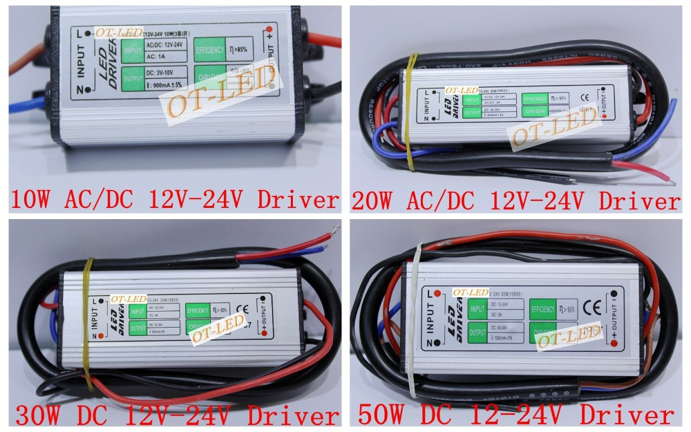 DC 12V-24V 10W 20W 30W 50W LED Waterproof IP67 LED Driver, Power adapter,Lighting transformer for 10W 20W 30W 50W LED chips.