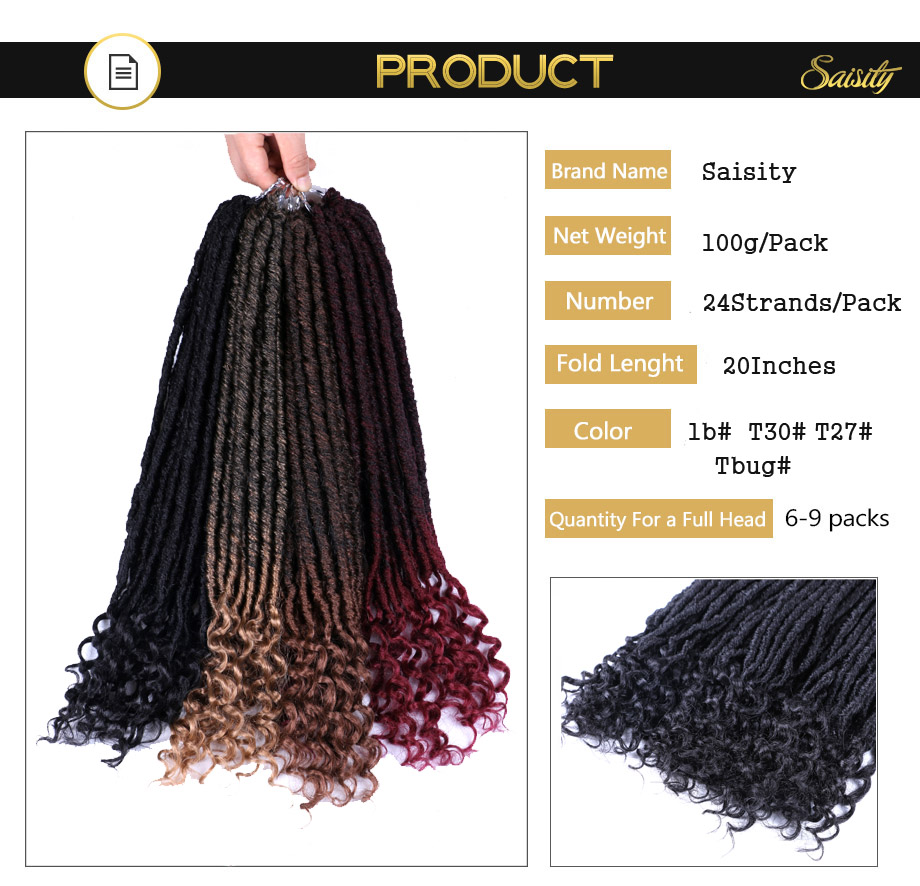 Saisity Faux Locs Curly Jumbo Dreads Braids Hair Extensions 20inches Synthetic Soft Natural Loc Hairstyle Crochet Hair in Dread Loc Faux Loc from Hair Extensions Wigs