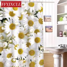 Eco-Friendly Waterproof Fabric Polyester Shower Curtain Mildew Home Chrysanthemum Printing Bathroom Custom Made