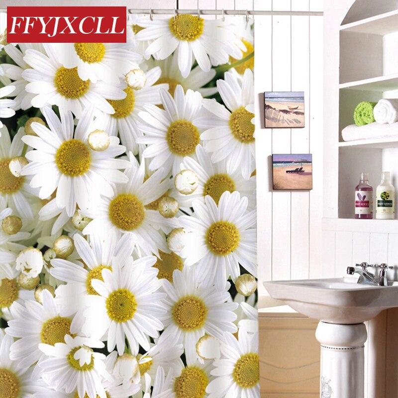 Eco-Friendly Waterproof Fabric Polyester Shower Curtain Mildew Home Chrysanthemum Printing Bathroom Curtain Custom Made