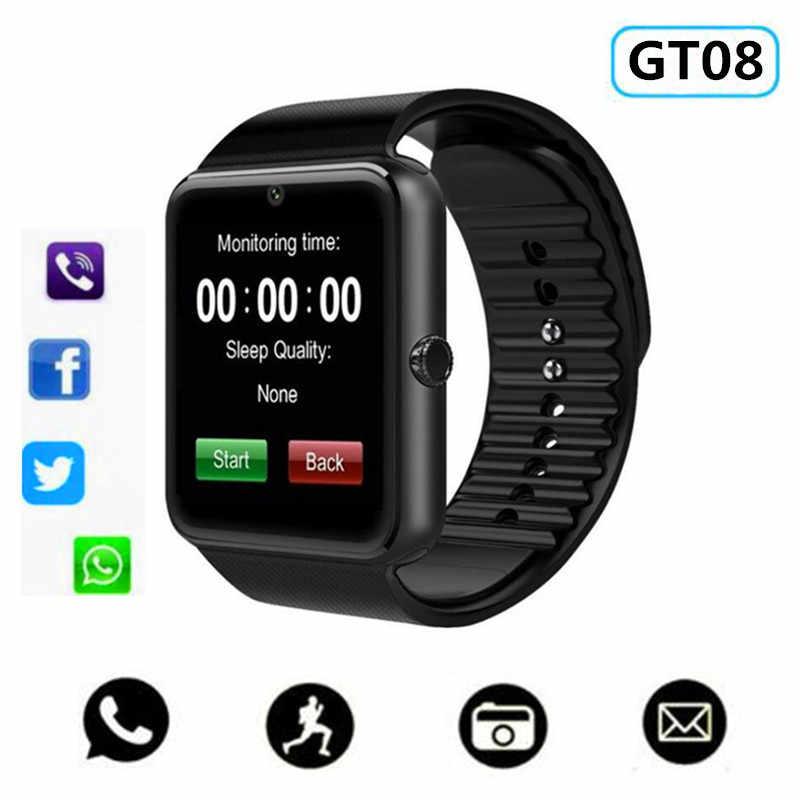 Умные часы GT08 часы уведомление о синхронизации поддержка камеры Sim TF карта Bluetooth подключение умные часы для телефона на Android умные часы из сплава